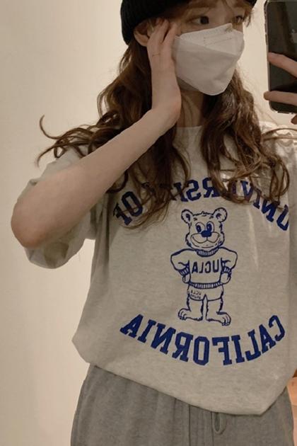 英文UCLA熊棉短T*2色
