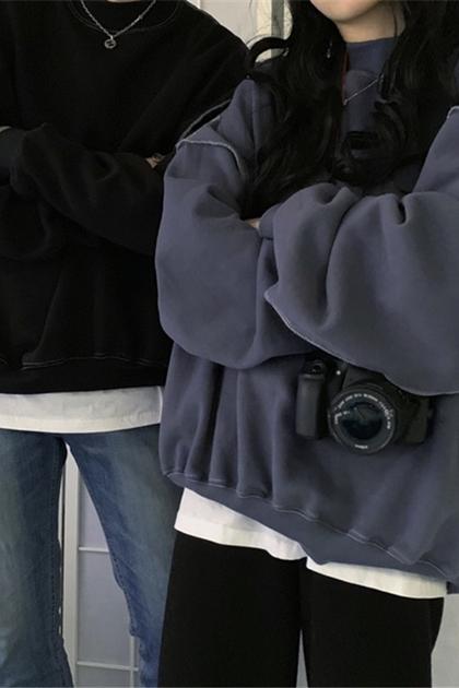 簡約寬鬆拼接設計衛衣刷毛大學T*2色