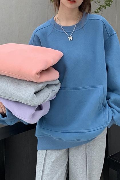 純色袋鼠口袋長袖刷絨大學T*4色