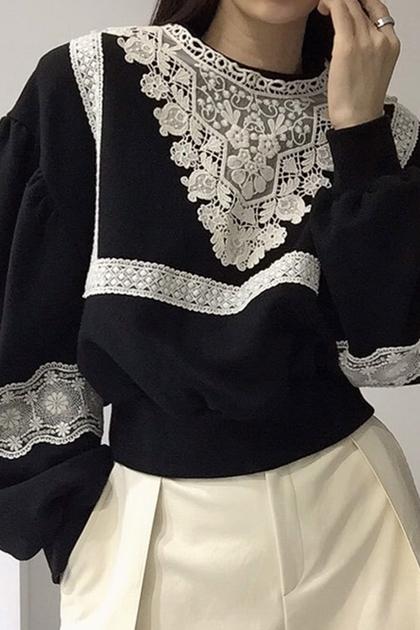 蕾絲拼接圓領泡泡袖寬鬆長袖衛衣大學T*3色