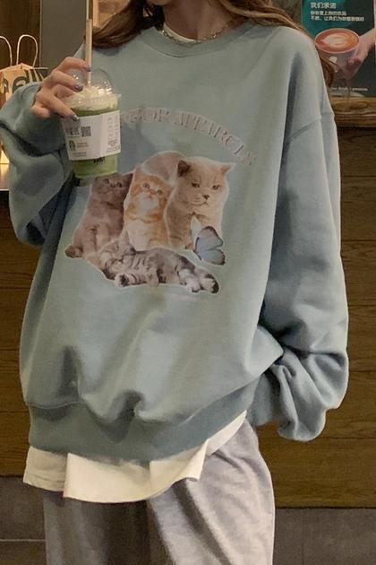 可愛貓咪印圖刷毛衛衣大學T*2色