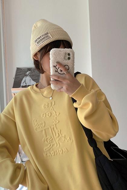 可愛恐龍立體壓印刷毛衛衣大學T*4色