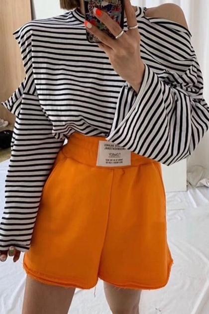防曬遮陽露肩條紋開口袖寬鬆長袖T恤*2色
