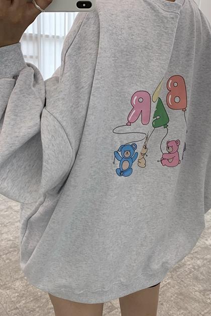 W可愛小熊印圖衛衣大學T*3色