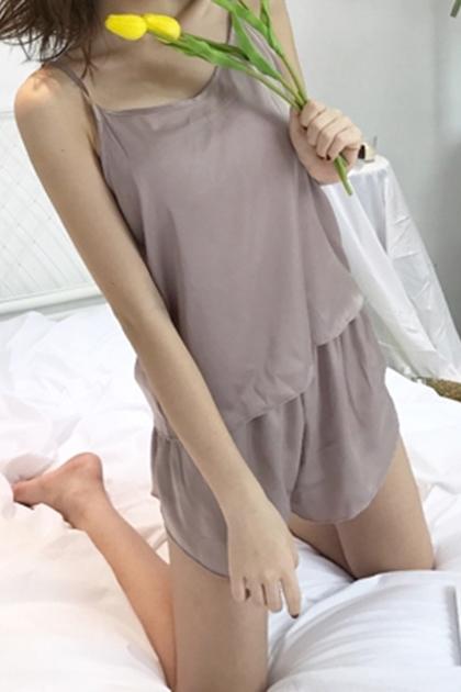 好舒服輕薄緞面細肩帶睡衣套裝*5色