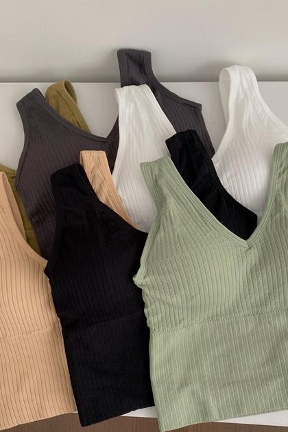 大V領合身胸墊背心內衣*6色