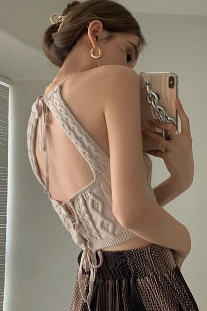 美背掛脖露背針織吊帶背心
