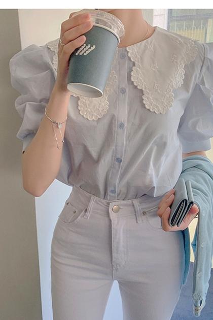 甜美蕾絲刺繡大翻領襯衫*藍