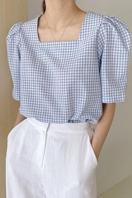 方領泡泡袖格紋襯衫*3色