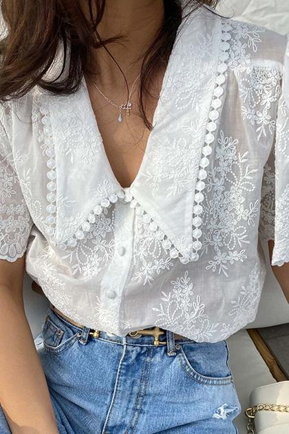 重工蕾絲鉤花泡泡袖開釦襯衫*白