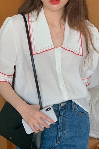 翻領拼色鑲邊設計泡袖襯衫*白