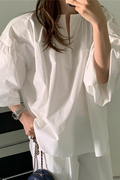 開岔領抓摺袖上衣*2色