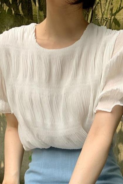 褶皺設計感雪紡襯衫*白