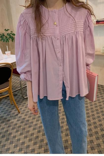 甜美紫色壓摺泡泡袖襯衫上衣