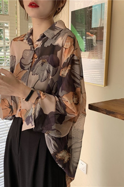 復古印花遮陽防曬襯衫*2色