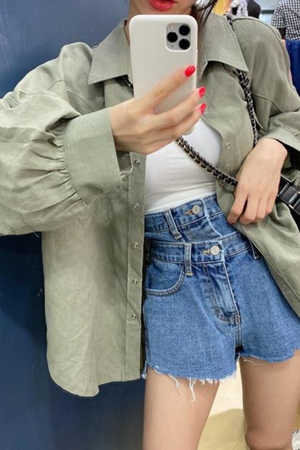 時尚翻領寬鬆百搭開釦襯衫*3色