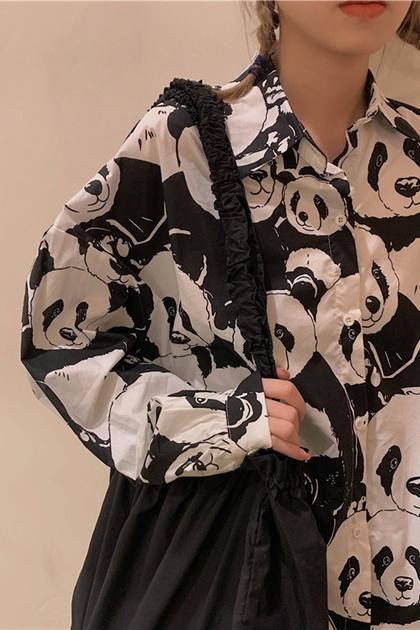 復古熊貓印花開釦襯衫