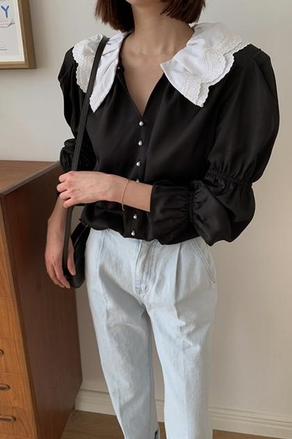 甜美蕾絲翻領蕾絲撞色泡泡袖開釦襯衫*2色
