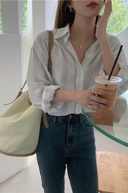 清爽條紋防曬襯衫