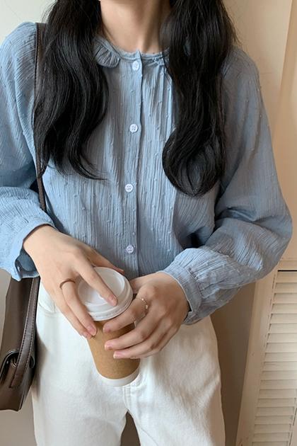 溫柔立體點點雪紡襯衫*3色