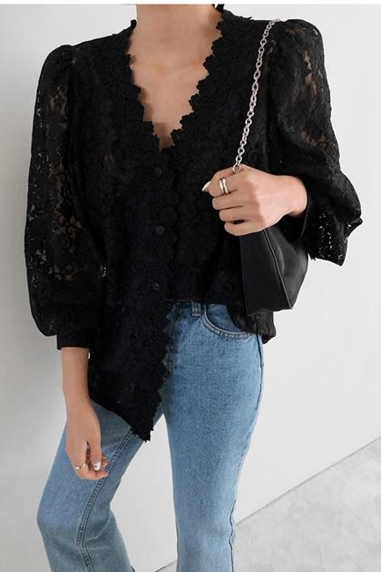 法式復古蕾絲縷空刺繡襯衫*黑