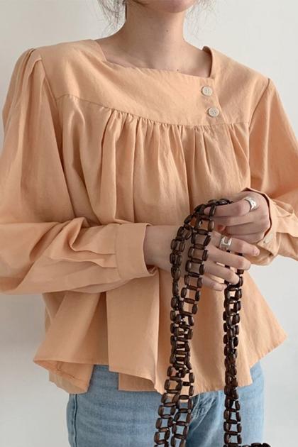 法式方領抓摺襯衫*2色