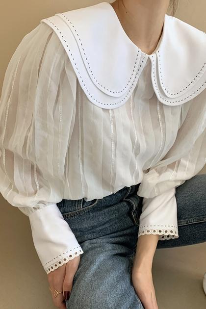 雙層翻領重工透膚蕾絲袖襯衫上衣*2色