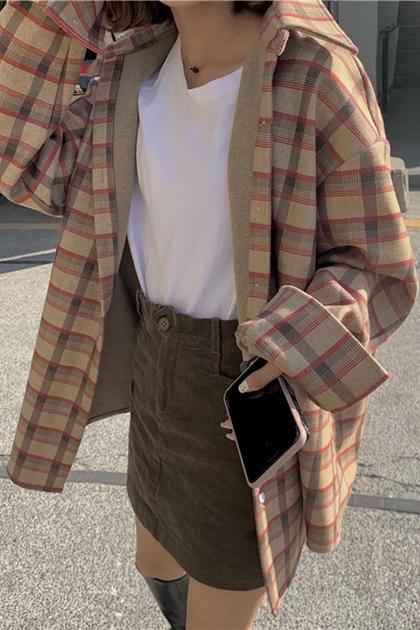復古格紋撞色開釦加長襯衫*2色