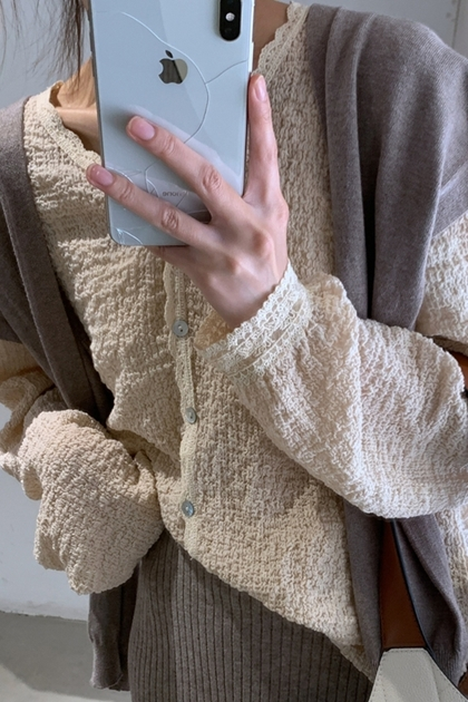 溫柔氣質 v領蕾絲邊長袖開釦襯衫