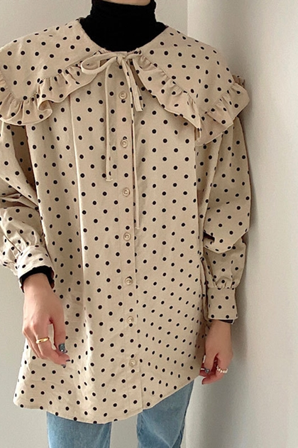 減齡圓點娃娃翻領綁帶寬鬆單排扣襯衫上衣