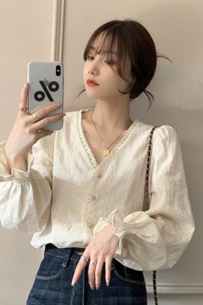 名媛花邊V領蕾絲襯衫