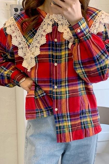 蕾絲花邊娃娃領格紋泡泡袖襯衫*2色
