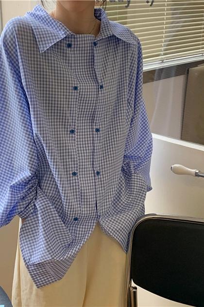 寬鬆翻領雙排扣格紋長袖襯衫