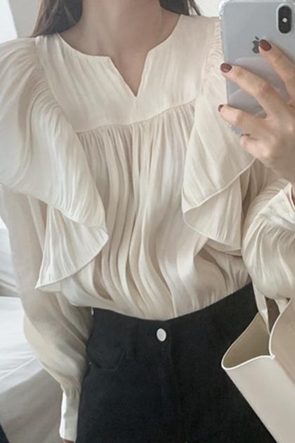 溫柔氣質褶皺荷葉光澤感泡泡袖襯衫*2色2