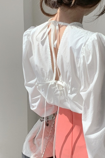 法式設計感露背性感系帶襯衫*3色