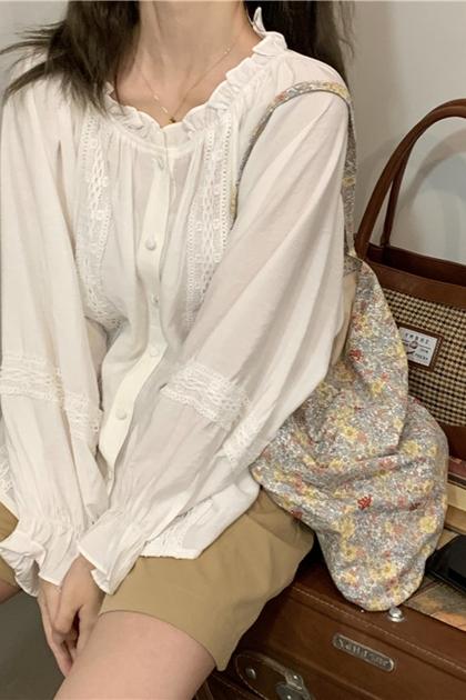 簡約氣質蕾絲拼接長袖襯衫*2色