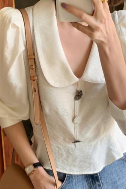 法式優雅澎澎袖絲瓜領造型襯衫
