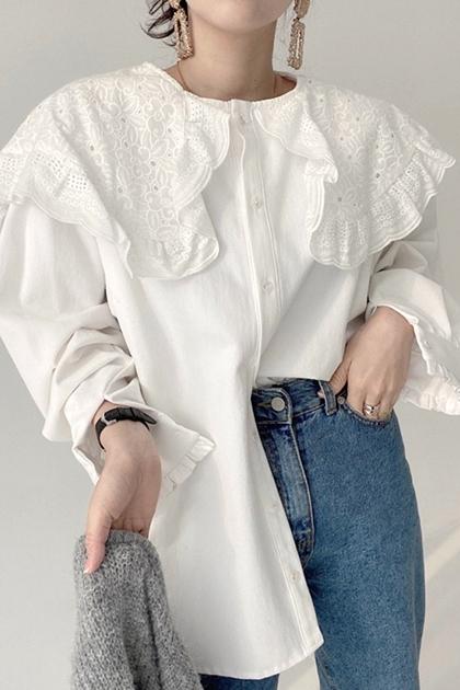 花邊雕花蕾絲長版襯衫