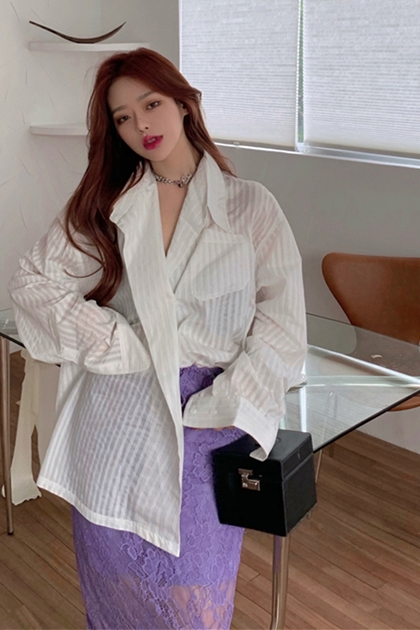 時尚剪裁條紋襯衫
