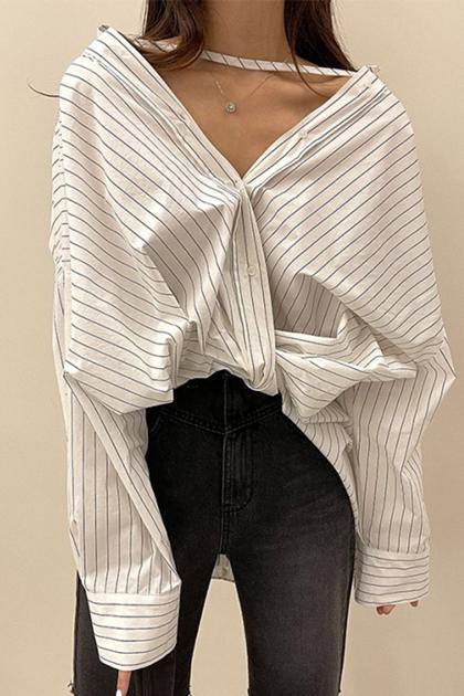 造型剪裁條紋襯衫*2色
