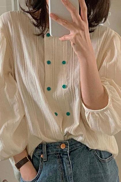 溫柔壓摺撞色雙排釦襯衫上衣*2色
