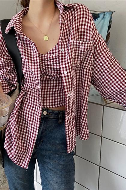 棋盤格紋細帶背心+格紋襯衫套裝*2色