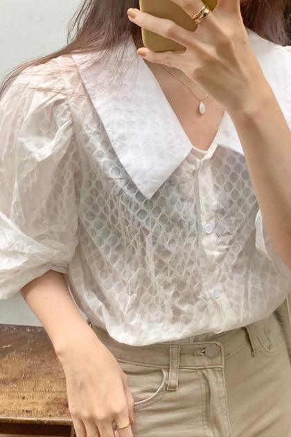 泡泡袖透肌翻領開釦襯衫*米白