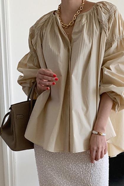 皺摺V領燈籠袖襯衫*3色