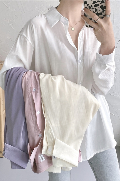 舒服粉嫩系防曬遮陽襯衫*4色