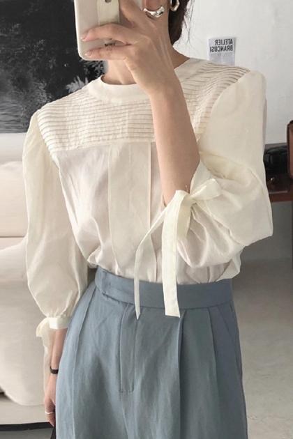 氣質壓褶設計蝴蝶結綁帶燈籠袖襯衫*3色