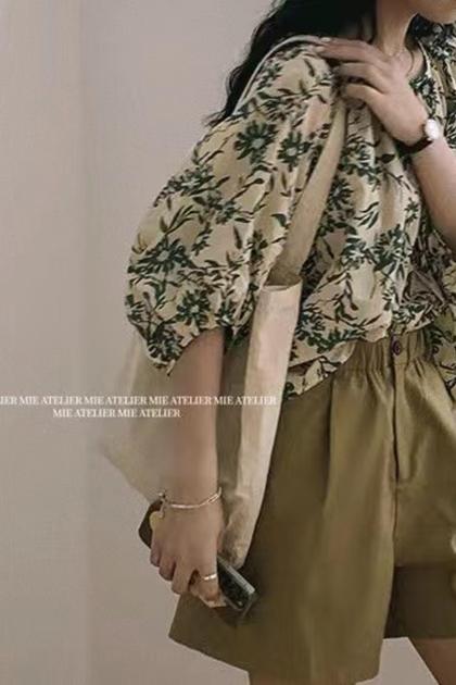 復古芥末綠花朵棉麻襯衫