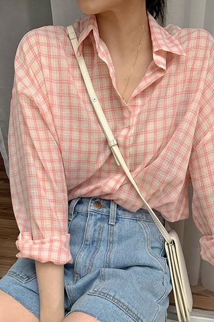 清新寬鬆格紋防曬長袖襯衫*粉