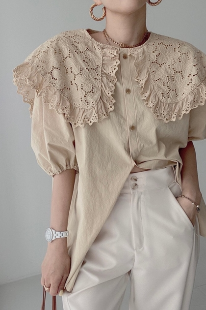 荷葉蕾絲刺繡翻領開釦格紋襯衫*2色