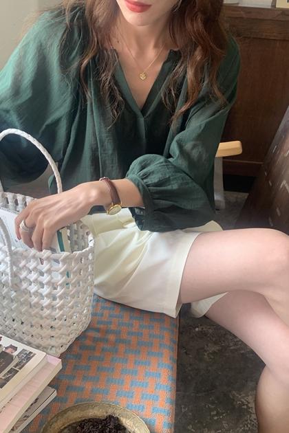 輕熟V領襯衫*3色